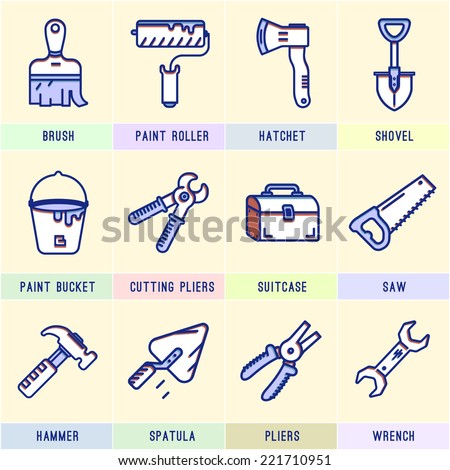 Set of icons with tools. Hammer, suitcase, saw, hacksaw, pliers, paint bucket, brush, roller, wrench, shovel, axe, spatula,cutting pliers.Repair. - stock vector
