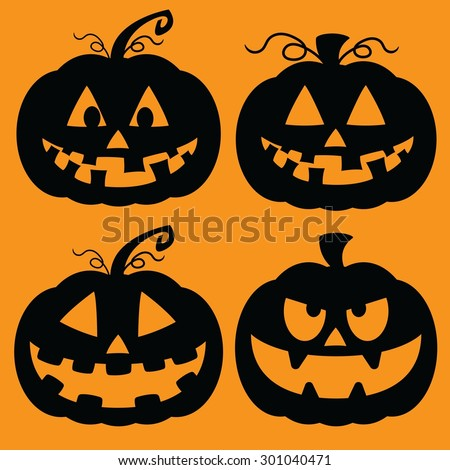 Set of illustrated cartoon jack-o-lantern silhouettes.  - stock vector
