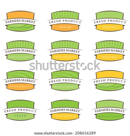 Set of illustration farm labels.Vector - stock vector