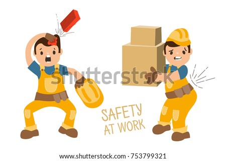 Set of illustrations - accidents at work (injures) fallen brick, worker without helmet, worker with heavy boxes and back pain