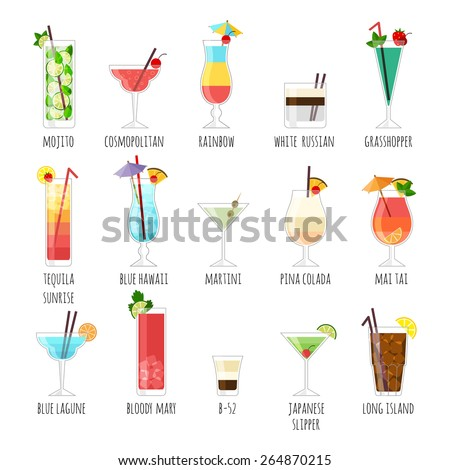 Set of illustrations club cocktails.  On a white background with the names. - stock vector