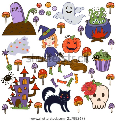 set of illustrations for Halloween. brightest witch cauldron witch with potion, skull, cat, zombie, ghost, pumpkin, witch's castle and toadstools. vector - stock vector