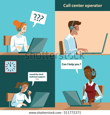set of illustrations in cartoon style , call center operators - stock vector