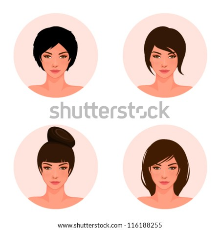 set of illustrations of a beautiful young girl with different hair style - stock vector