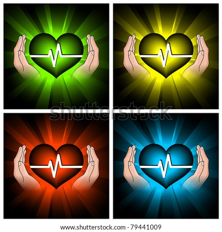 set of illustrations of color hearts and hands - stock vector