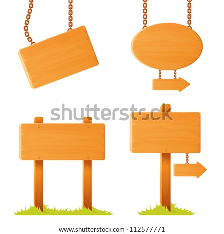 set of illustrations of variously shaped wooden sign board - stock vector