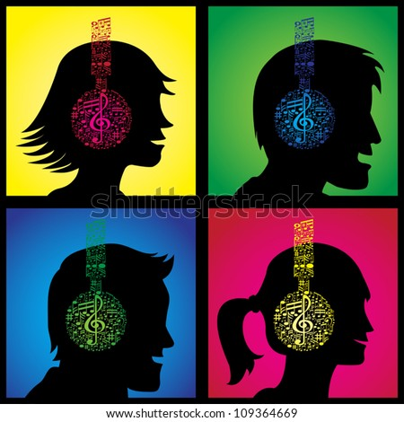 Set of illustrations showing headphones made out of musical notes on happy listeners. - stock vector