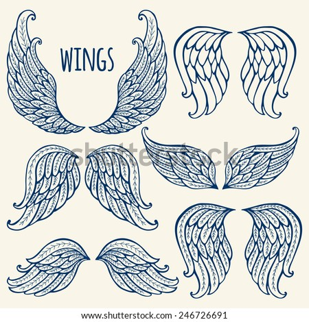 Set of illustrations with angel wings. - stock vector