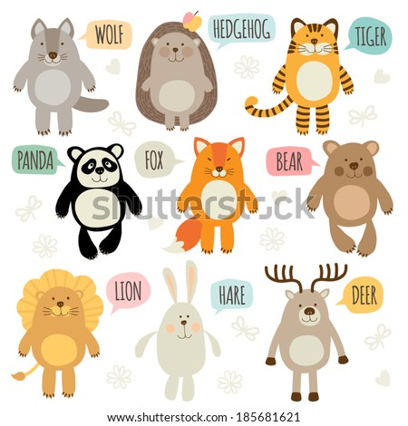 Set of illustrations with animals - stock vector