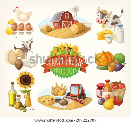 Set of illustrations with farm fresh products and animals - stock vector