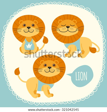 Set of illustrations with lions. - stock vector