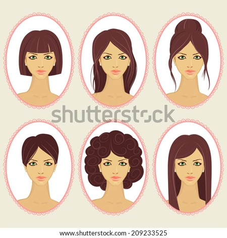 Set of illustrations with women's hairstyles. - stock vector