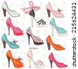 Set of illustrations with women's shoes. - stock