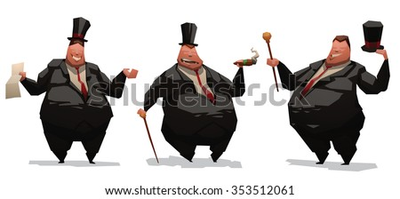 Set of image of fat and very rich business me in black costume. One stand and smoking a cigars. One standing and holding a contract. All they have overweight. vector illustrations - stock vector