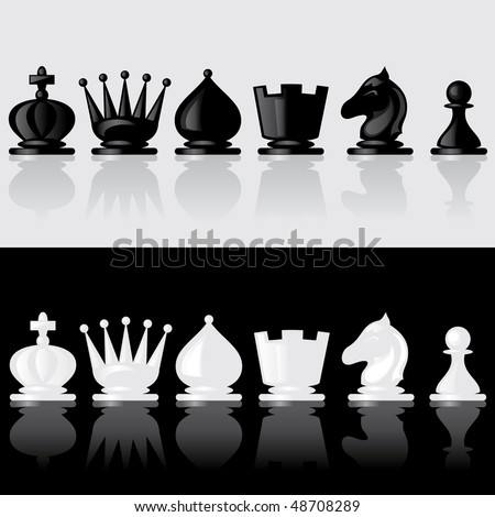 set of images of chess pieces with reflection - stock vector