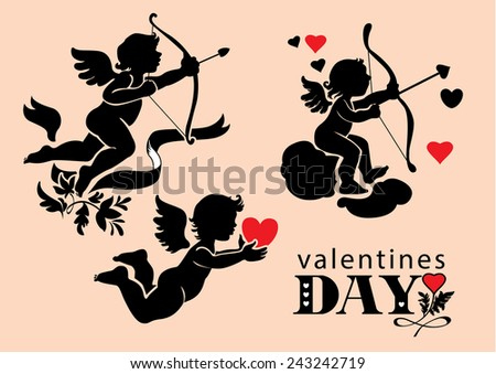 set of images of Cupids Valentine's Day - stock vector