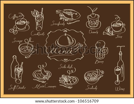 set of images of different dishes on the blackboard - stock vector