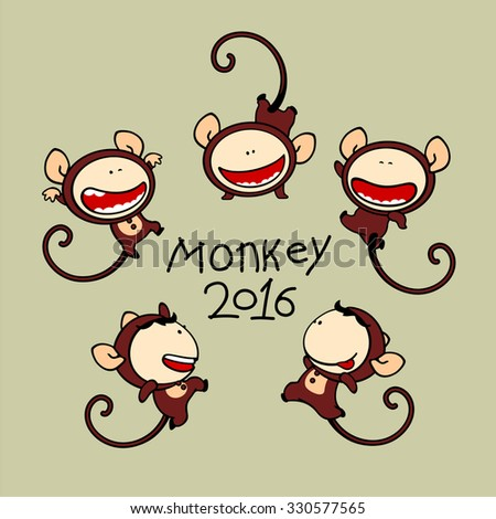 Set of images of funny kids #80, Monkey Zodiac sign - stock vector