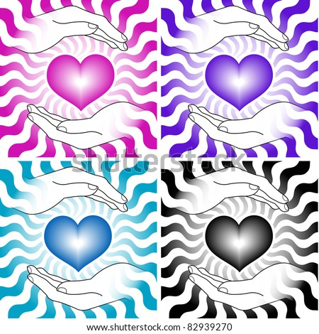 set of images of hearts with hands - stock vector