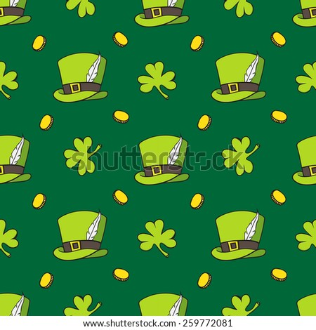 set of images of St. Patrick , gold , beer , clover , hat - stock vector