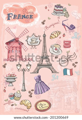Set of images of various attractions, Paris, France - stock vector