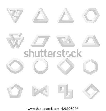 Set of impossible shapes. Optical Illusion. Vector Illustration isolated on white - stock vector