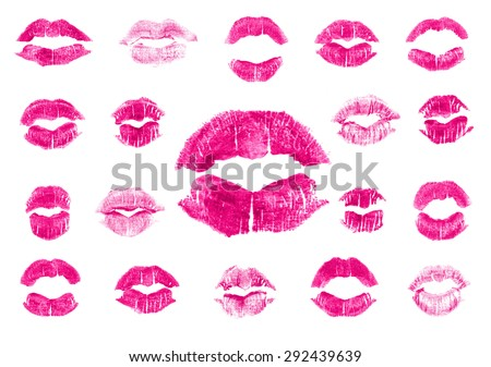 Set of 19 imprint of pink lipstick. Silhouettes of fuchsia lips isolated on white background. Qualitative trace of real lipstick texture. Can be used as a decorative element for print or design. - stock vector