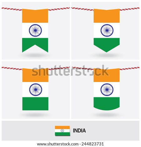 Set of India flag. vector illustration  - stock vector