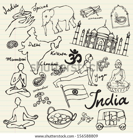 Set of India icons doodle vectors - stock vector
