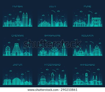 Set of Indian cities skylines. Mumbai, Delhi, Jaipur, Kolkata, Hyderabad, Ahmedabad, Pune, Chennai, Bangalore. Trendy vector illustration, linear style. - stock vector