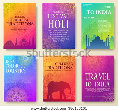 Set of Indian country ornament illustration concept. Art traditional, book, poster, abstract, ottoman motifs, element. Vector decorative ethnic greeting card or invitation design background. - stock vector