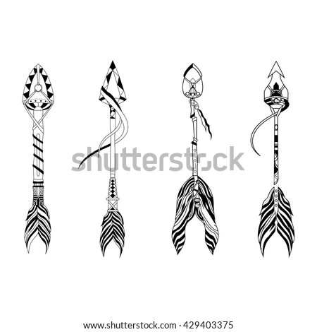 Set of indian warrior arrows.