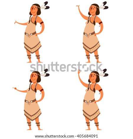 Set of indian women - stock vector