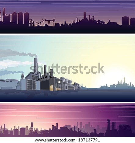 Set of Industrial Backgrounds, Banners. Three Vector Templates Ready for Your Text and Design. - stock vector