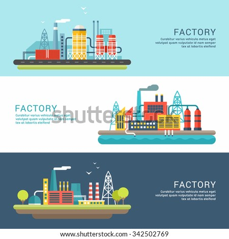 Set of Industrial Factory Buildings. Flat Style Vector Conceptual Illustrations for Web Banners or Promotional Materials - stock vector