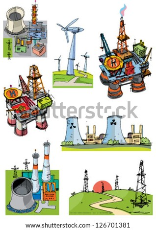 set of industrial projects related to energy - cartoon - stock vector