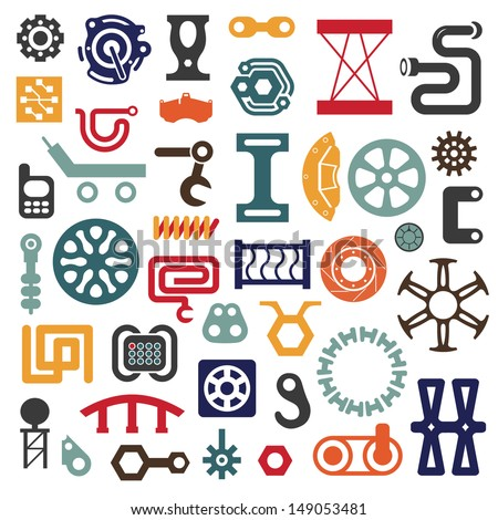 Set of Industrial Vector Items. Mix of Geometrical Techno Shapes - stock vector