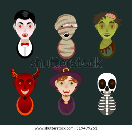 Set of 6 infernal characters for the holiday of Halloween: vampire, mummy, zombie, demon, wizard, skeleton. Flat style, avatars - stock vector