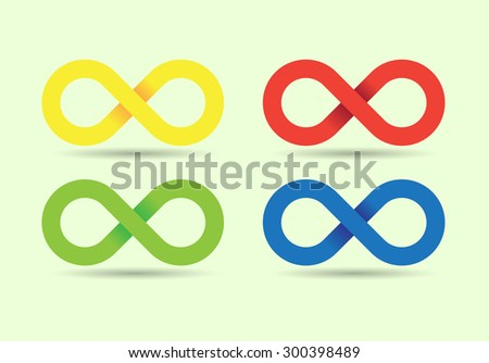 Set of Infinity symbols, illustartion - stock vector