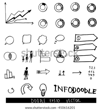 set of info chart doodle - stock vector