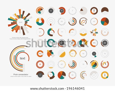Set of info-graphic pie charts - stock vector