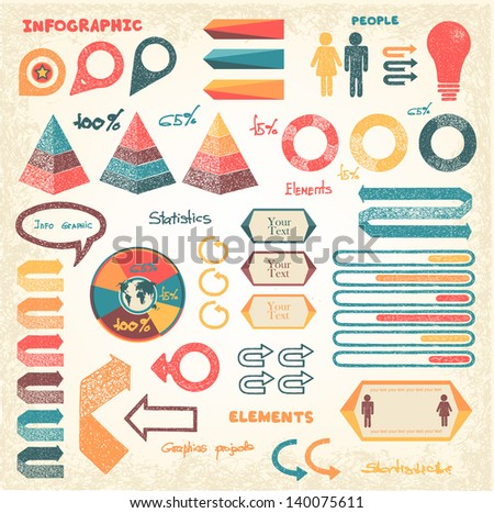 Set of info graphics elements and signs - stock vector