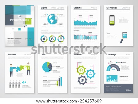 Set of infographic brochure elements and business graphics. Big collection of modern infographic vector elements for web, print, magazine, flyer, brochure, media, marketing and advertising concepts. - stock vector
