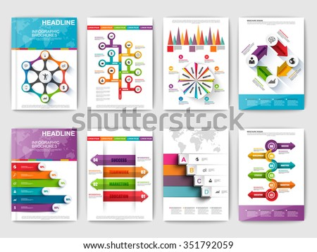 Set of Infographic brohucres. Modern infographic vector elements for web, print, magazine, flyer, brochure, media, data visualization, marketing, flyer, poster, and advertising concepts. - stock vector