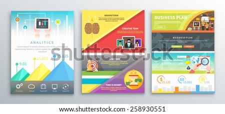 Set of infographic business brochures banners analitics, strategy, brainstorm. Graphics for data visualization. Use for web banners, marketing and promotional materials, flyers, presentation templates - stock vector