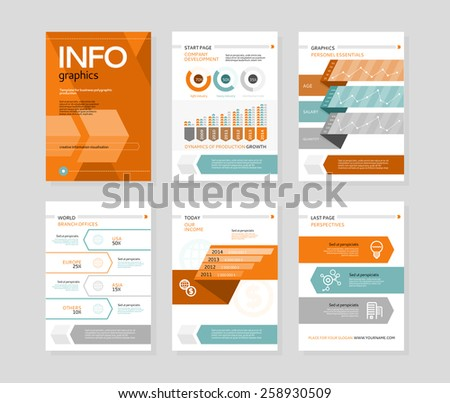 Set of infographic business brochures banners. Modern stylized graphics for data visualization. Can be used for web banners, marketing and promotional materials, flyers, presentation templates - stock vector