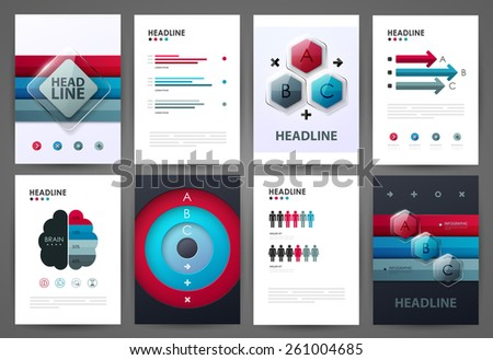 Set of infographic design templates. Brochure design. Bright modern backgrounds. Design elements. - stock vector