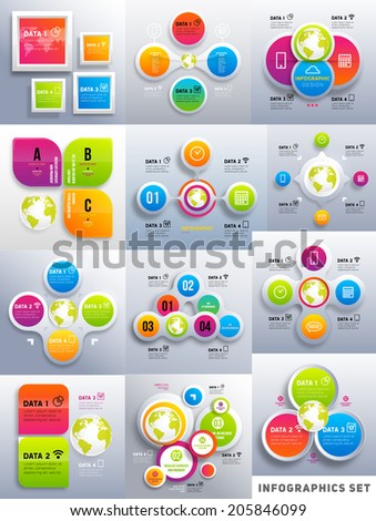 Set of Infographic Design Templates. Charts, Diagrams and other Vector Elements for Data and Statistics Presentation. Infographics Pack. - stock vector