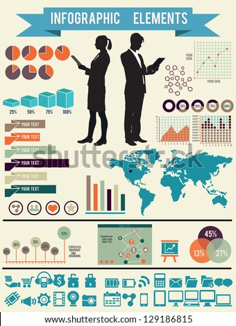 Set of infographic elements for design - vector elements - stock vector
