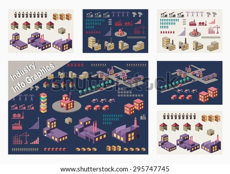 Set of infographic elements for urban and industrial theme - stock vector